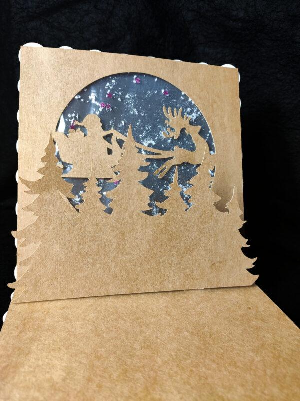 kartka 3d mikołaj na saniach
