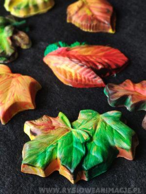 liście jesienne - gipsowe figurki - malowanie