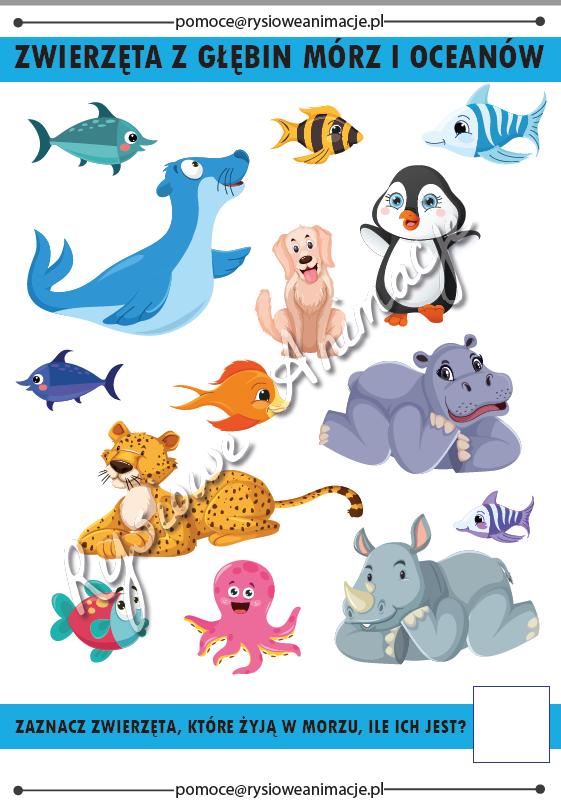 karty pracy zwierzaki z morza